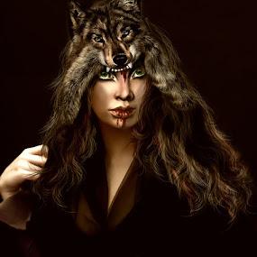 by Svetla Ivanova - Digital Art People ( red, wolfe, woman, girl, digital art )