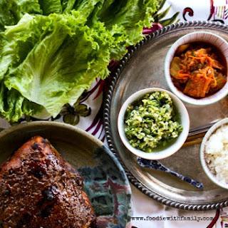 Bo Ssäm {Korean Pork Roast Lettuce Wraps} and Ginger Scallion Sauce Make Ahead Mondays