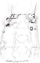 Photo: 觀察室2012.06.04鋼筆 隔離舍觀察室和鎮靜室一樣,地板和牆壁都貼滿了泡棉,以防收容人衝撞成傷,畫面裡兩位收容人不得不各據一方,因為他倆的其中一隻腳都被腳鐐鎖在地板上…