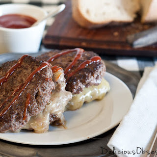Stuffed Cheddar Beef Burgers.