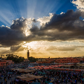 Sunrays at Marrakech by Graham Kidd - Landscapes Sunsets & Sunrises ( clouds, marrakech, sky, sunrays )