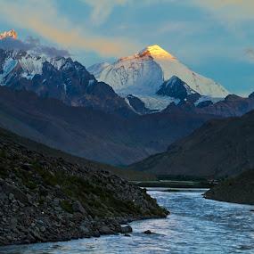 Mount Nun by Soumen  Basu Mallick - Landscapes Mountains & Hills ( mountain, gorge, peak, sunset, snow, landscape, light, river )