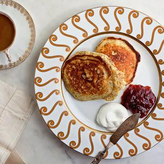 Lemon Poppy-Seed Pancakes with Greek Yogurt and Jam