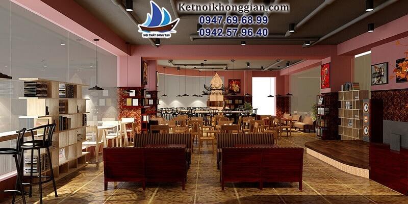 thiết kế quán cafe sách sang trọng
