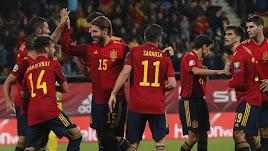 La celebración de uno de los siete goles.
