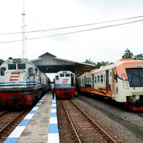 Trains on station by Supri Yanto - Transportation Trains