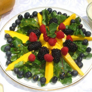 Blackberry, Mango and Mache Salad with Yogurt Dressing