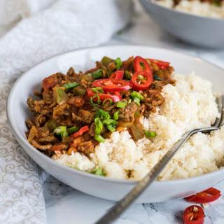 Slow Cooker Chili with Cauliflower Rice.