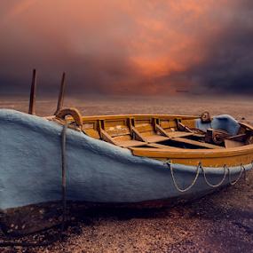 Abandoned ... by Anupam Hatui - Transportation Other ( colors, sunset, dark, landscape, boat, abandoned,  )