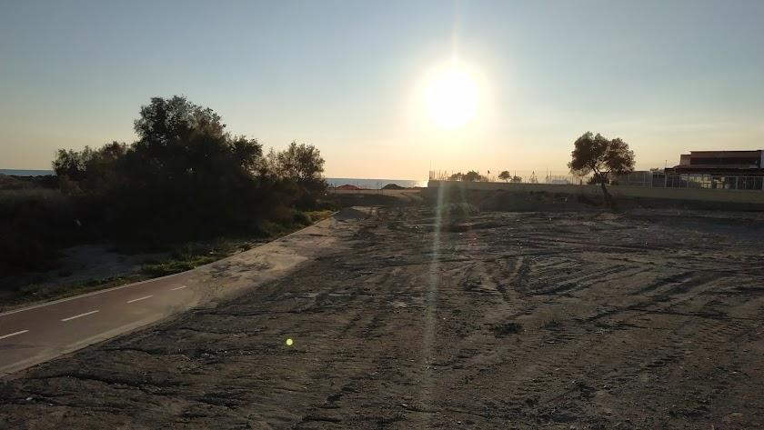 Zona de las obras paradas del paseo marítimo
