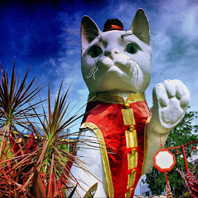Cat Statues. by Awang Kassim - Buildings & Architecture Statues & Monuments ( greeting, statues, architecture )