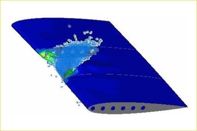 ANSYS - Анализ птицестойкости крыла самолета
