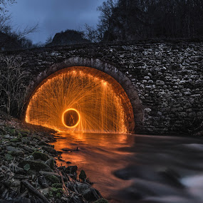 Under the bridge by Vladeta Manic - Buildings & Architecture Bridges & Suspended Structures ( old, steel wool, stone, long exposure, bridge, landscape, river,  )