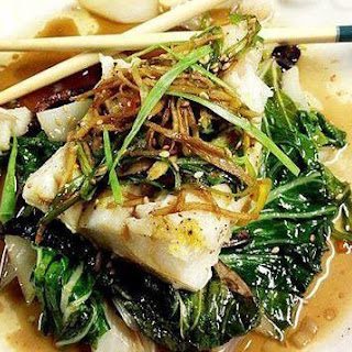 Foil Steamed Spicy Ginger Soy Cod & Bok Choy.