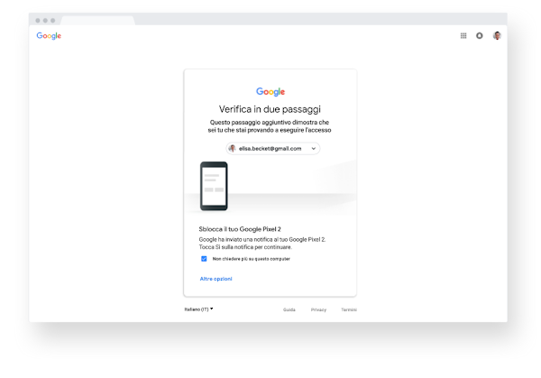 Schermata della verifica in due passaggi all'interno di un browser Chrome