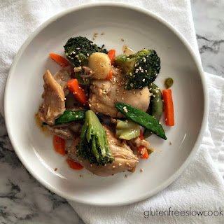 Sweet & Spicy Chicken Thighs with Asian Vegetables.