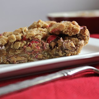 Peanut Butter Oatmeal Cookie Pie with Peanut Butter M&M's