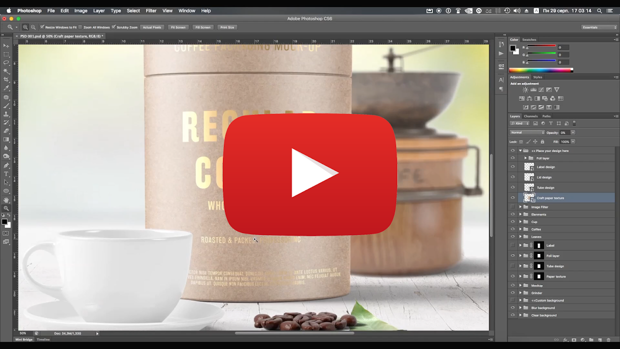 Paper Tube Coffee Packaging Mock-Up Set 2