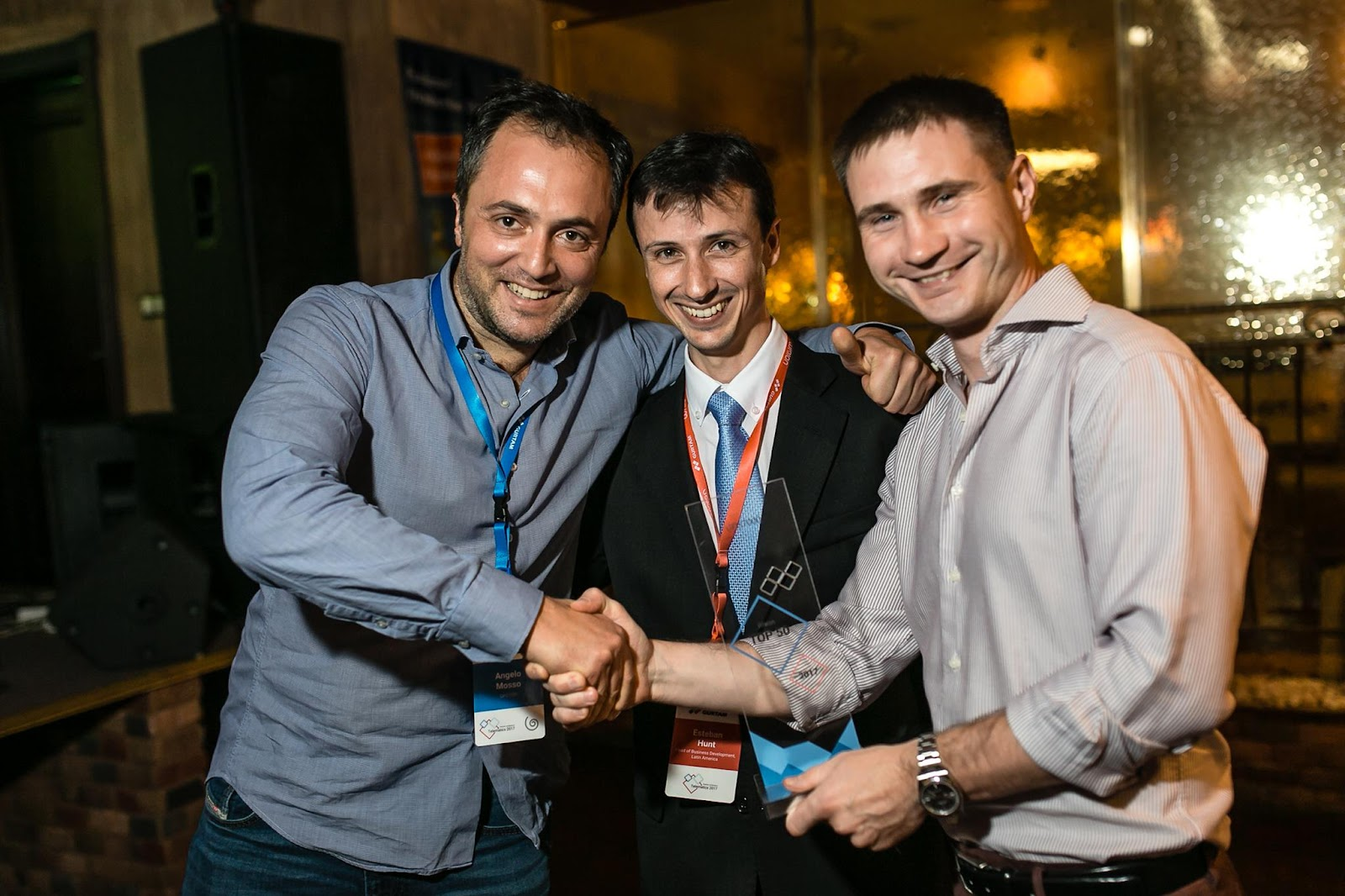 Angelo Mosso, CEO GPS7000, with Esteban Hunt and Aliaksei Schurko