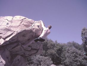 Photo: Bouldering by the pool for a warm up before the crags.