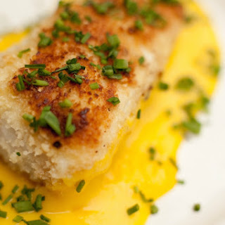 Macadamia Nut Crusted Halibut with Mango Sauce.