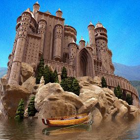 Castle boat dock by Charlie Alolkoy - Illustration Places ( water, mountians, sky, lake, castle, boat )