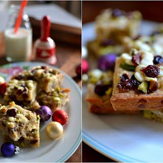 Cranberry, Pistachio and White Chocolate Blondies.