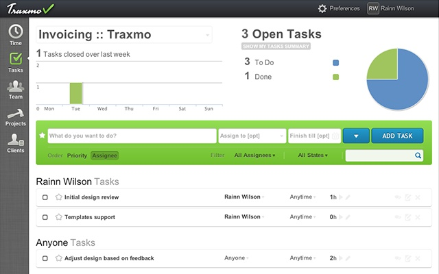 traxmo time tracking task list invoicing