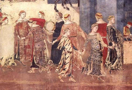 English: Detail from Allegory of Good Government by Ambrogio Lorenzetti, Palazzo Pubblico, Siena, 1338-40  Date  1338-40  (6 March 2009 (original upload date)):