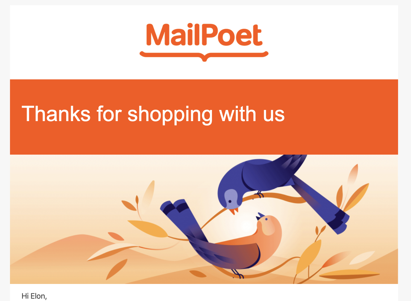 Screenshot of our email template with an illustration of a bird added