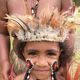A girl from Papua New Guinea by Dawn Simpson - Babies & Children Child Portraits ( pacific islands, villagers, native dress, tourism, travel, girl, papua new guinea )