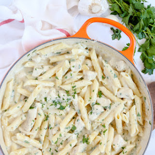 Creamy Garlic Penne Pasta with Chicken.