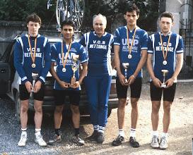 Photo: Philippe Boucher - Philippe Créa - Gérard Hermann (DS) - Antoine Zambito et Sylvain Roch Champion de Lorraine Juniors en 1987 dans la Meuse