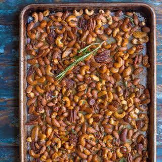 Spicy and Sweet Roasted Sriracha Nuts.