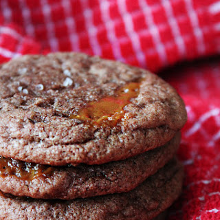 Chocolate Cookies With Caramel Filing.