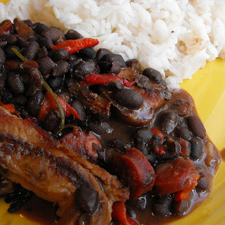 Streaky Bacon with Black Beans.