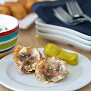 Cheesesteak Football Croquettes with a Peperoncini Ranch Dip
