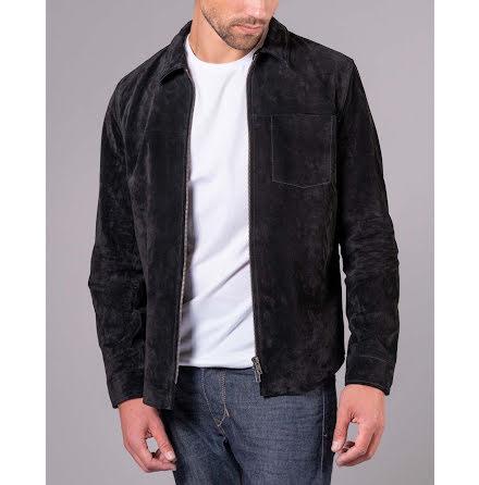 Jofama Clark zipped suede shirt jacket black