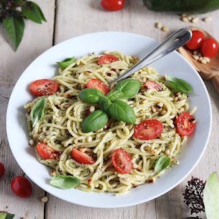 Spaghetti with Vegan Avocado-Cashew Pesto and Pine Nuts.