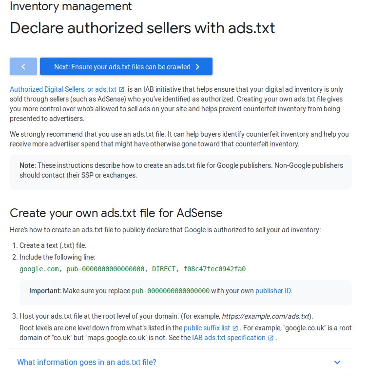 Declare authorized sellers with ads.txt