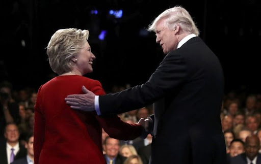 Hillary Clinton and Donald Trump. Picture: JOE RAEDLE/REUTERS