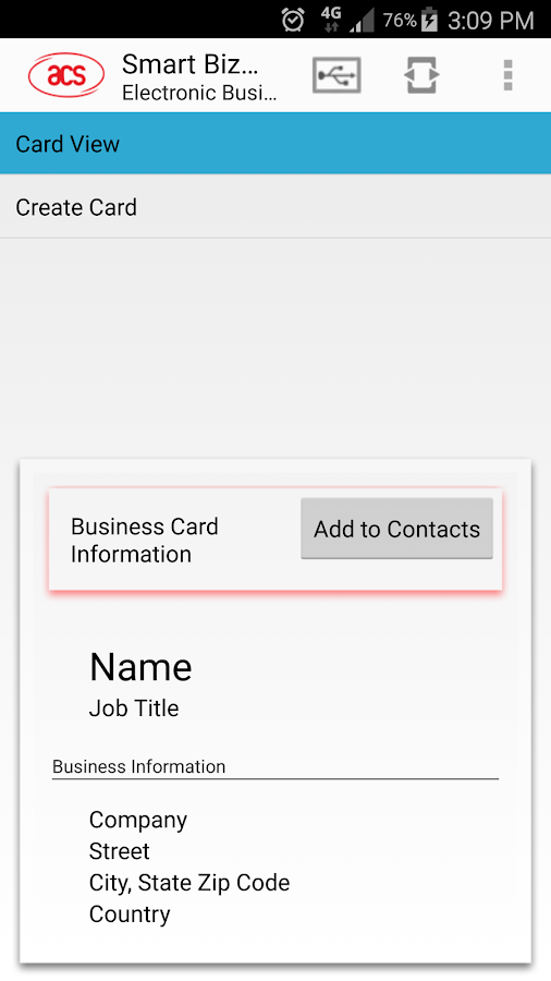 ACS Smart Biz Card- screenshot