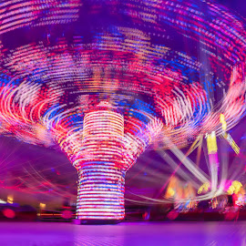 Fun at the Fair by Keith Walmsley - Uncategorized All Uncategorized ( attraction, spinning, fair, rides, lights, colours )