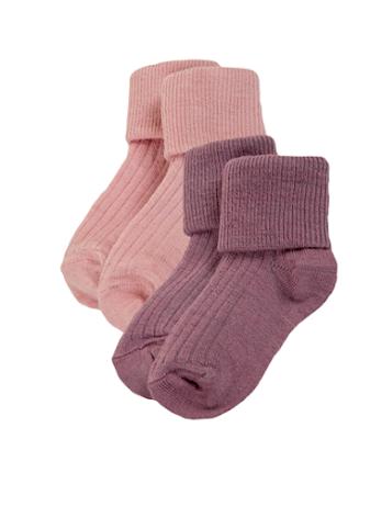 Babystrumpa, tunn, ribb, 2-pack, rosa/lavendel