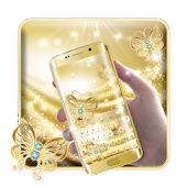 Shiny Gold Butterfly Keyboard Theme Android APK Download Free By LUDY THEME