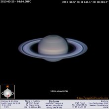Photo: Caught up again, here's a Saturn from early this morning.  I shot quite a bit of data but this single RGB run seems to be the best of it for now.  Seeing was quite variable and better than the previous attempts for 2013's apparition.  I think with the weather being so bad I'll have time to play more with the data, but for now, day40 has me staying on top of things!