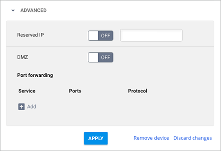 Advanced network setting options in Google Fiber account