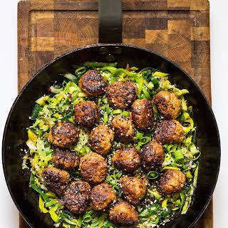 Ginger And Carrot Chicken Meatballs With Sautéed Leeks.