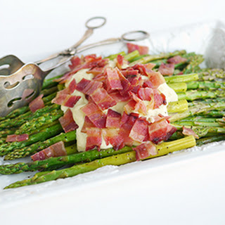 Roasted Asparagus with Parmesan Cream Sauce and Bacon