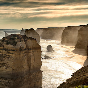 Afternoon at the 12 Apostles by Susan Marshall - Landscapes Beaches ( sunset, sea, ocean, beach, apostles, 12,  )